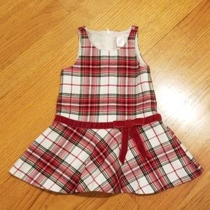 Janie and Jack Red Flannel Plaid Jumper Dress